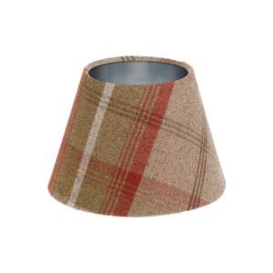 Balmoral Rust Tartan Empire Lampshade Brushed Silver Inner