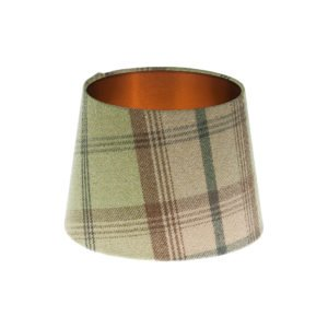 Balmoral Sage Tartan French Drum Lampshade Brushed Copper Inner