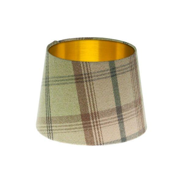 Balmoral Sage Tartan French Drum Lampshade Brushed Gold Inner