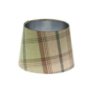 Balmoral Sage Tartan French Drum Lampshade Brushed Silver Inner