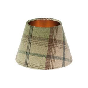 Balmoral Sage Tartan Empire Lampshade Brushed Copper Inner