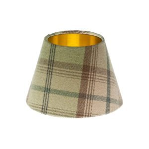 Balmoral Sage Tartan Empire Lampshade Brushed Gold Inner