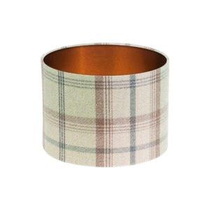 Balmoral Sage Tartan Drum Lampshade Brushed Copper Inner
