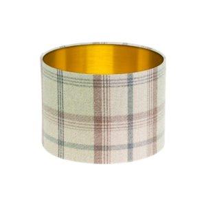 Balmoral Sage Tartan Drum Lampshade Brushed Gold Inner