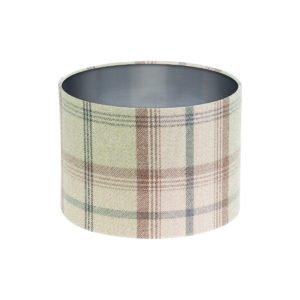 Balmoral Sage Tartan Drum Lampshade Brushed Silver Inner