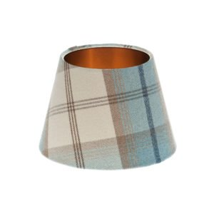 Balmoral Sky Tartan Empire Lampshade Brushed Copper Inner