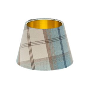 Balmoral Sky Tartan Empire Lampshade Brushed Gold Inner