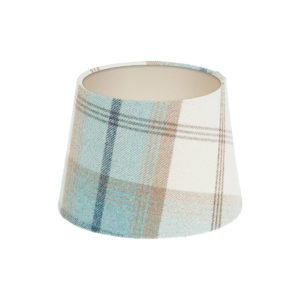 Balmoral Sky Tartan French Drum Lampshade Champagne Inner