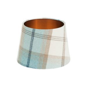 Balmoral Sky Tartan French Drum Lampshade Brushed Copper Inner