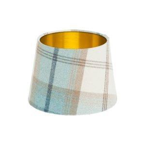 Balmoral Sky Tartan French Drum Lampshade Brushed Gold Inner
