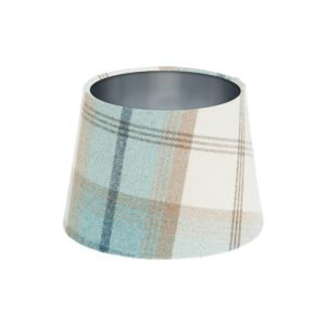Balmoral Sky Tartan French Drum Lampshade Brushed Silver Inner