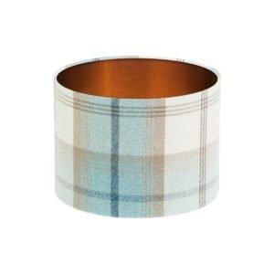 Balmoral Sky Tartan Drum Lampshade Brushed Copper Inner