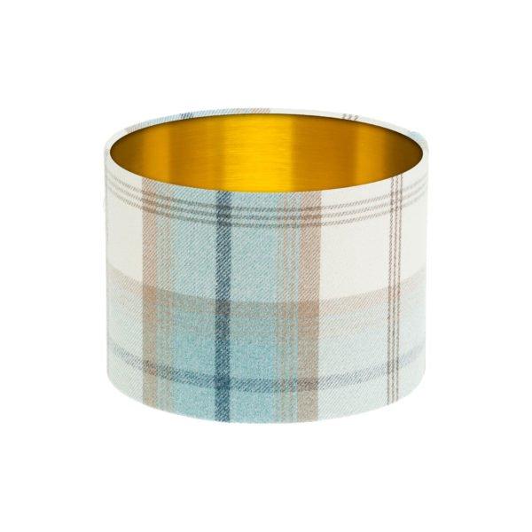 Balmoral Sky Tartan Drum Lampshade Brushed Gold Inner