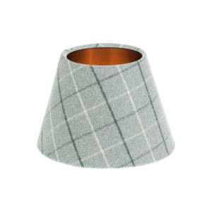 Bamburgh Dove Grey Tartan Empire Lampshade Brushed Copper Inner