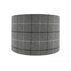 Bamburgh Dove Grey Tartan Drum Lampshade