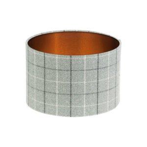 Bamburgh Dove Grey Tartan Drum Lampshade Brushed Copper Inner