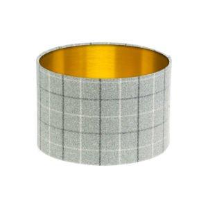 Bamburgh Dove Grey Tartan Drum Lampshade Brushed Gold Inner