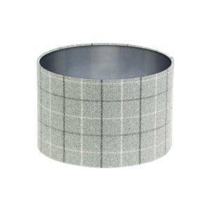 Bamburgh Dove Grey Tartan Drum Lampshade Brushed Silver Inner