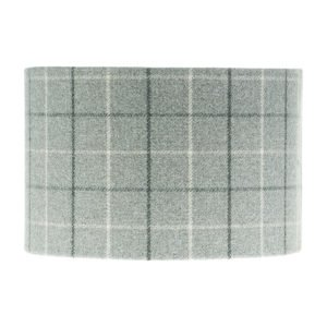 Bamburgh Dove Grey Tartan Drum Lampshade