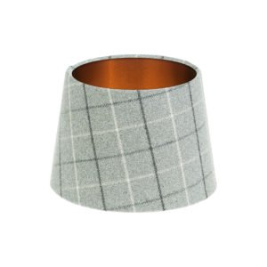 Bamburgh Dove Grey Tartan French Drum Lampshade Brushed Copper Inner