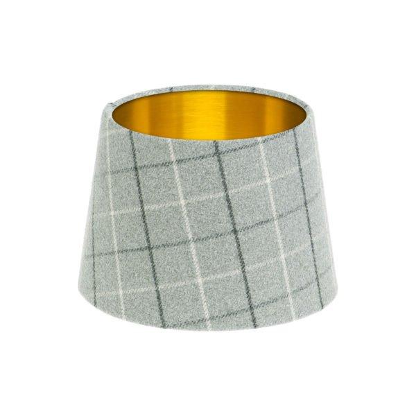 Bamburgh Dove Grey Tartan French Drum Lampshade Brushed Gold Inner