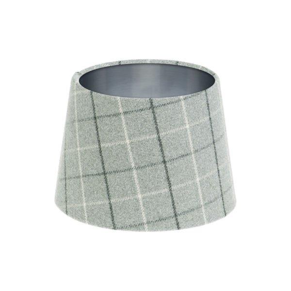 Bamburgh Dove Grey Tartan French Drum Lampshade Brushed Silver Inner