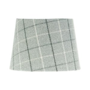 Bamburgh Dove Grey Tartan French Drum Lampshade