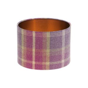 Balmoral Amethyst Tartan Drum Lampshade Brushed Copper Inner