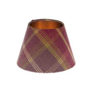 Balmoral Amethyst Tartan Empire Lampshade Brushed Copper Inner