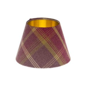 Balmoral Amethyst Tartan Empire Lampshade Brushed Gold Inner