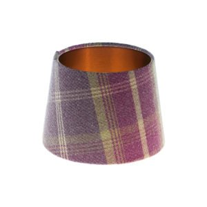 Balmoral Amethyst Tartan French Drum Lampshade Brushed Copper Inner