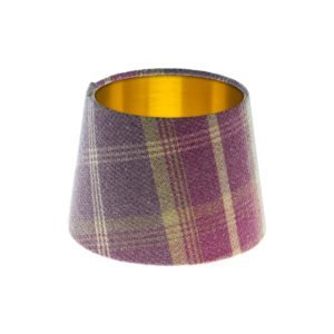 Balmoral Amethyst Tartan French Drum Lampshade Brushed Gold Inner