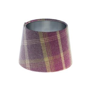 Balmoral Amethyst Tartan French Drum Lampshade Brushed Silver Inner
