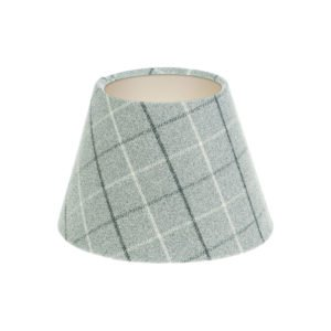 Bamburgh Dove Grey Tartan Empire Lampshade Champagne Inner