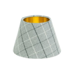 Bamburgh Dove Grey Tartan Empire Lampshade Brushed Gold Inner