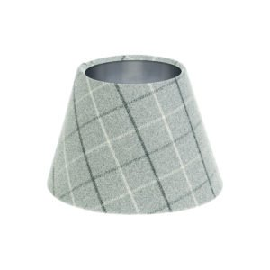 Bamburgh Dove Grey Tartan Empire Lampshade Brushed Silver Inner