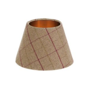 Bamburgh Heather Tartan Empire Lampshade Brushed Copper Inner