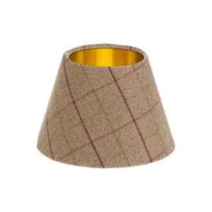 Bamburgh Heather Tartan Empire Lampshade Brushed Gold Inner