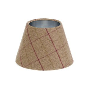 Bamburgh Heather Tartan Empire Lampshade Brushed Silver Inner