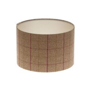 Bamburgh Heather Tartan Drum Lampshade Champagne Inner
