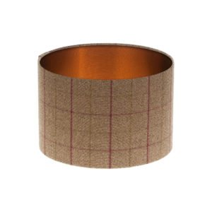 Bamburgh Heather Tartan Drum Lampshade Brushed Copper Inner