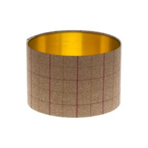 Bamburgh Heather Tartan Drum Lampshade Brushed Gold Inner