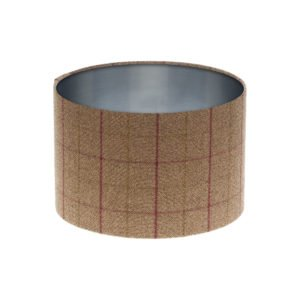 Bamburgh Heather Tartan Drum Lampshade Brushed Silver Inner