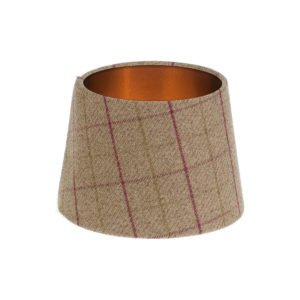 Bamburgh Heather Tartan French Drum Lampshade Brushed Copper Inner