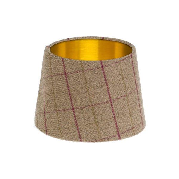 Bamburgh Heather Tartan French Drum Lampshade Brushed Gold Inner