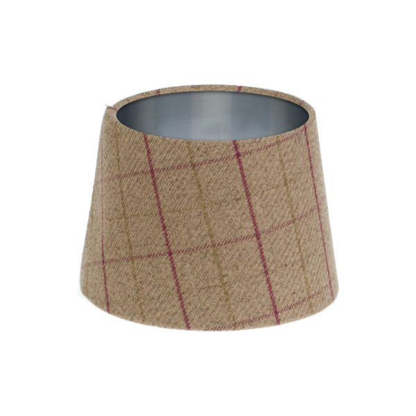 Bamburgh Heather Tartan French Drum Lampshade Brushed Silver Inner