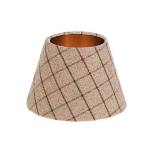Bamburgh Mulberry Tartan Empire Lampshade Brushed Copper Inner