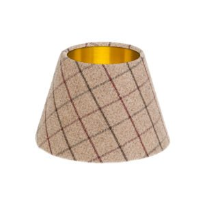 Bamburgh Mulberry Tartan Empire Lampshade Brushed Gold Inner
