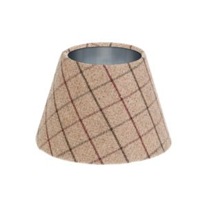 Bamburgh Mulberry Tartan Empire Lampshade Brushed Silver Inner