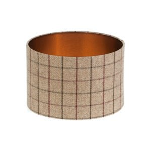 Bamburgh Mulberry Tartan Drum Lampshade Brushed Copper Inner